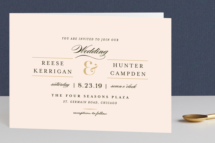 blush and gold wedding invites