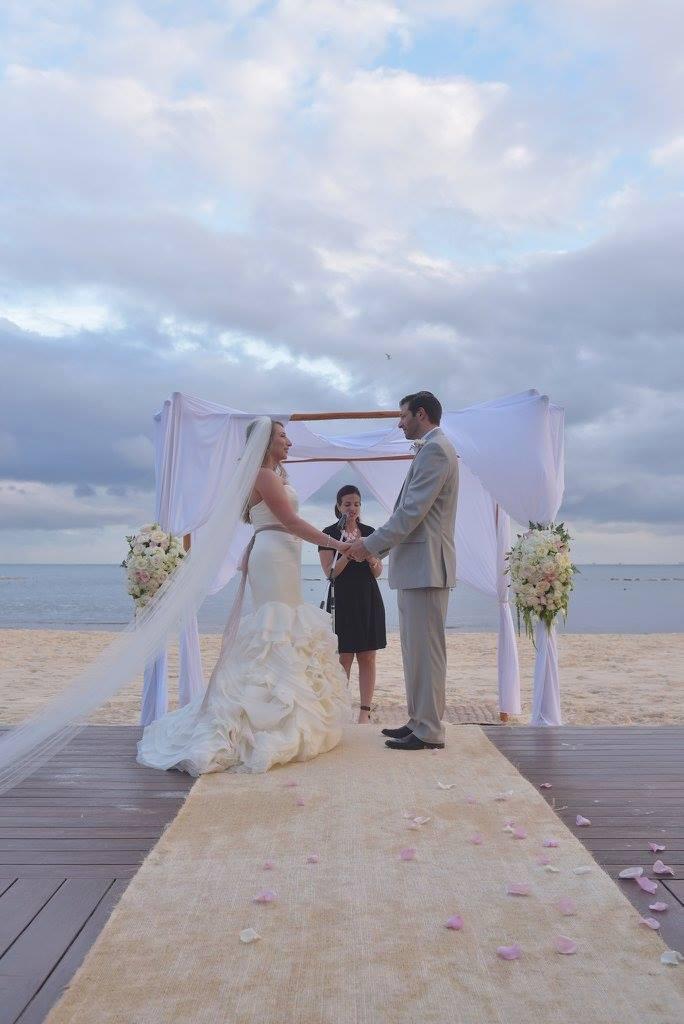 bride and groom beach wedding ceremony