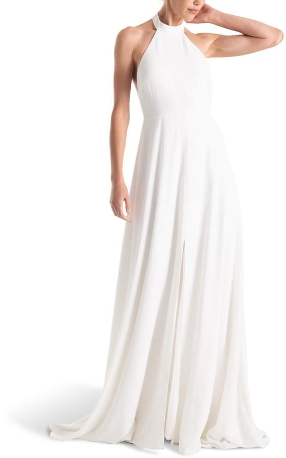 long halter white wedding gown
