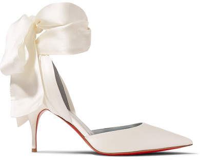 white ivory bridal shoes with bow