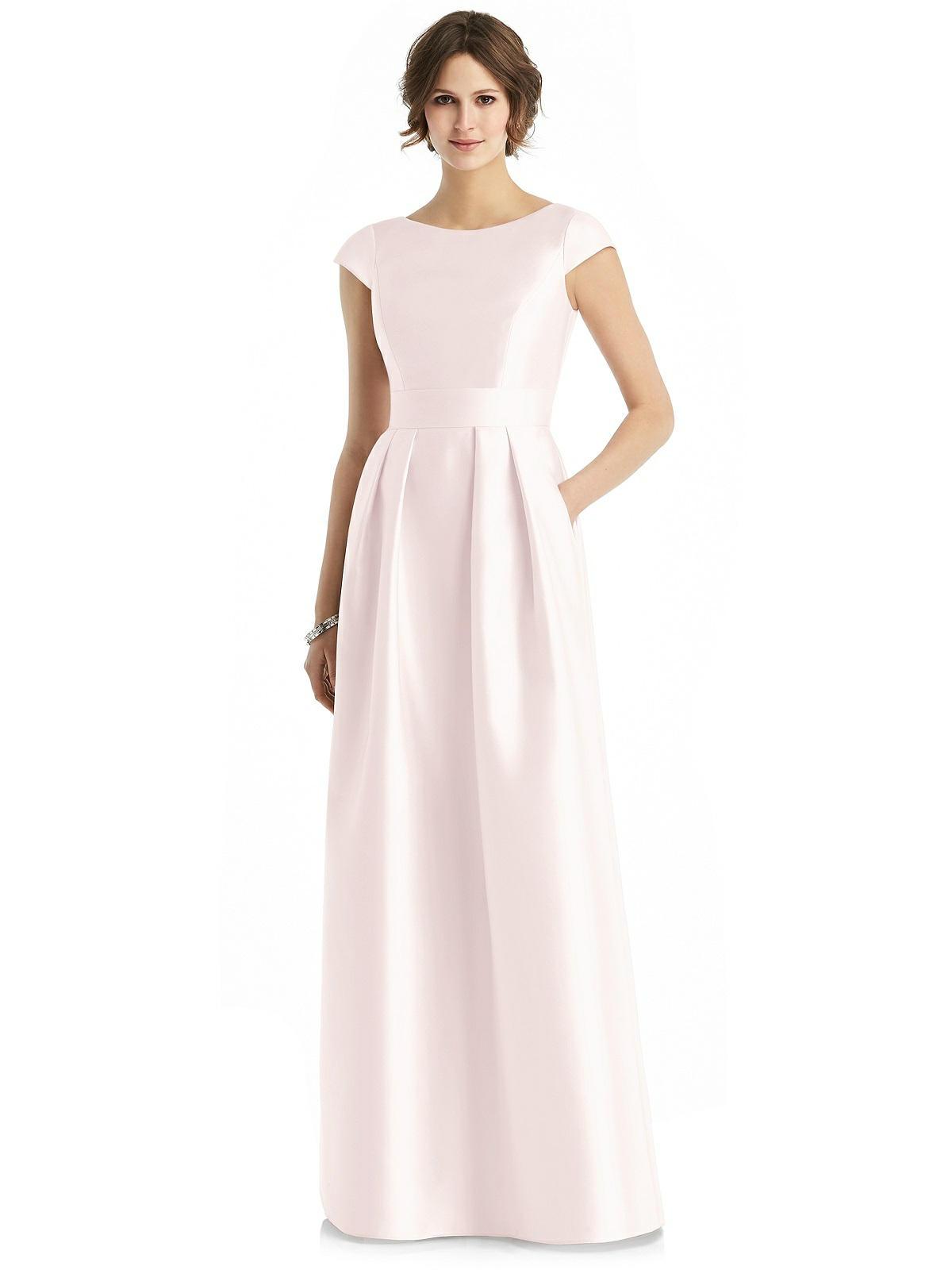 long pink bridesmaid dress