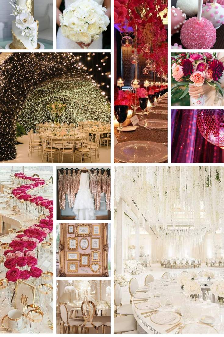 wedding inspo board with white and pink
