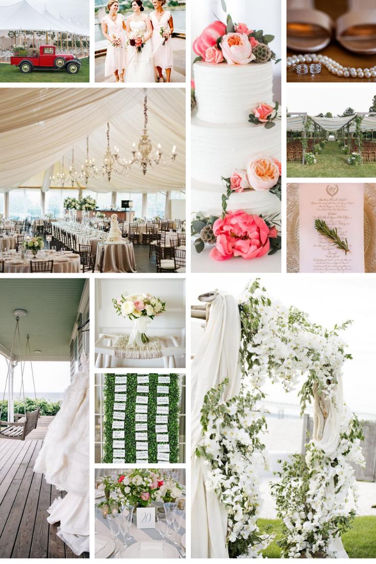 wedding inspo board white green pink blush farm