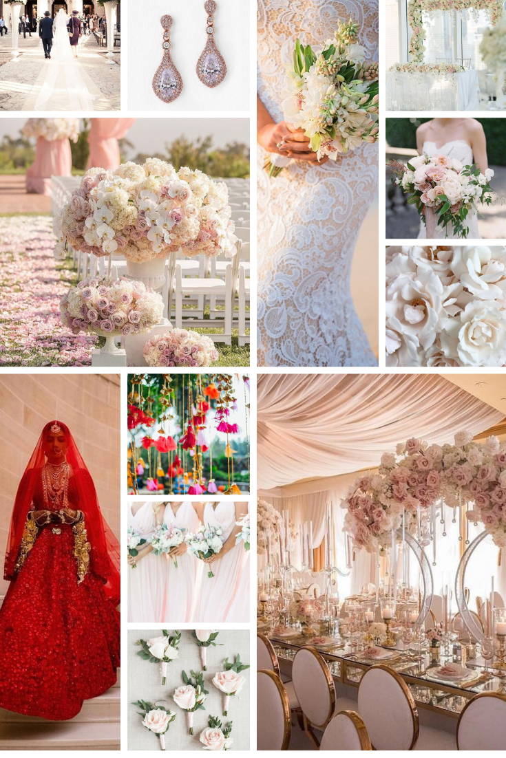 wedding inspo board pink white red