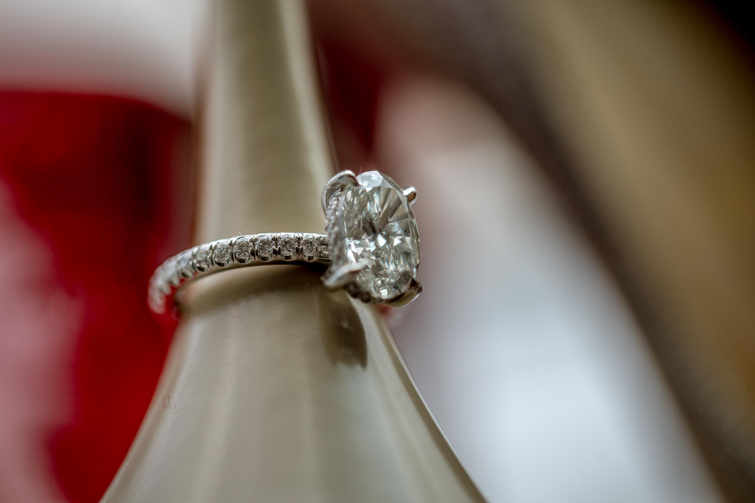 engagement ring around heel of shoe