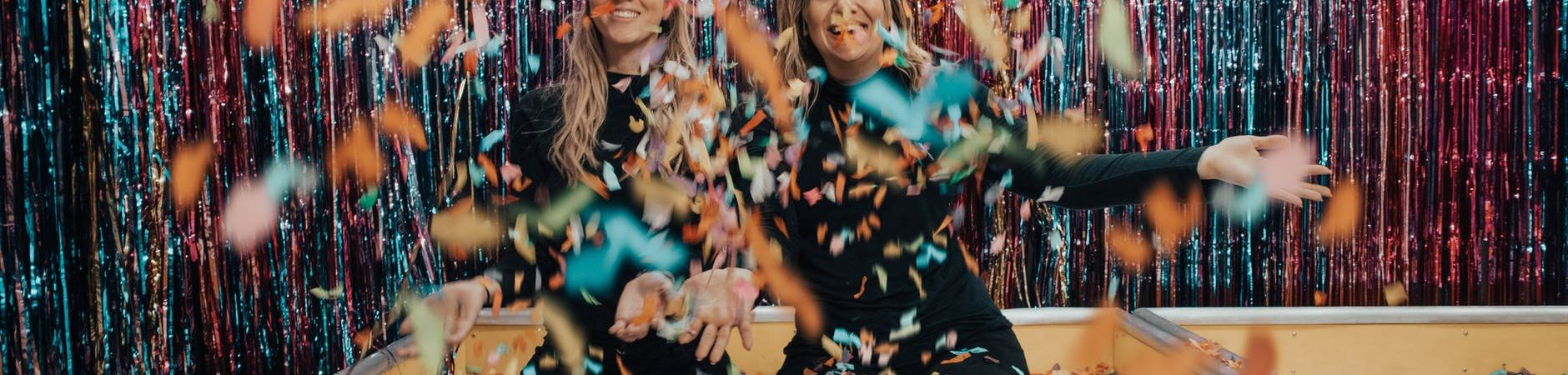 two girls in confetti