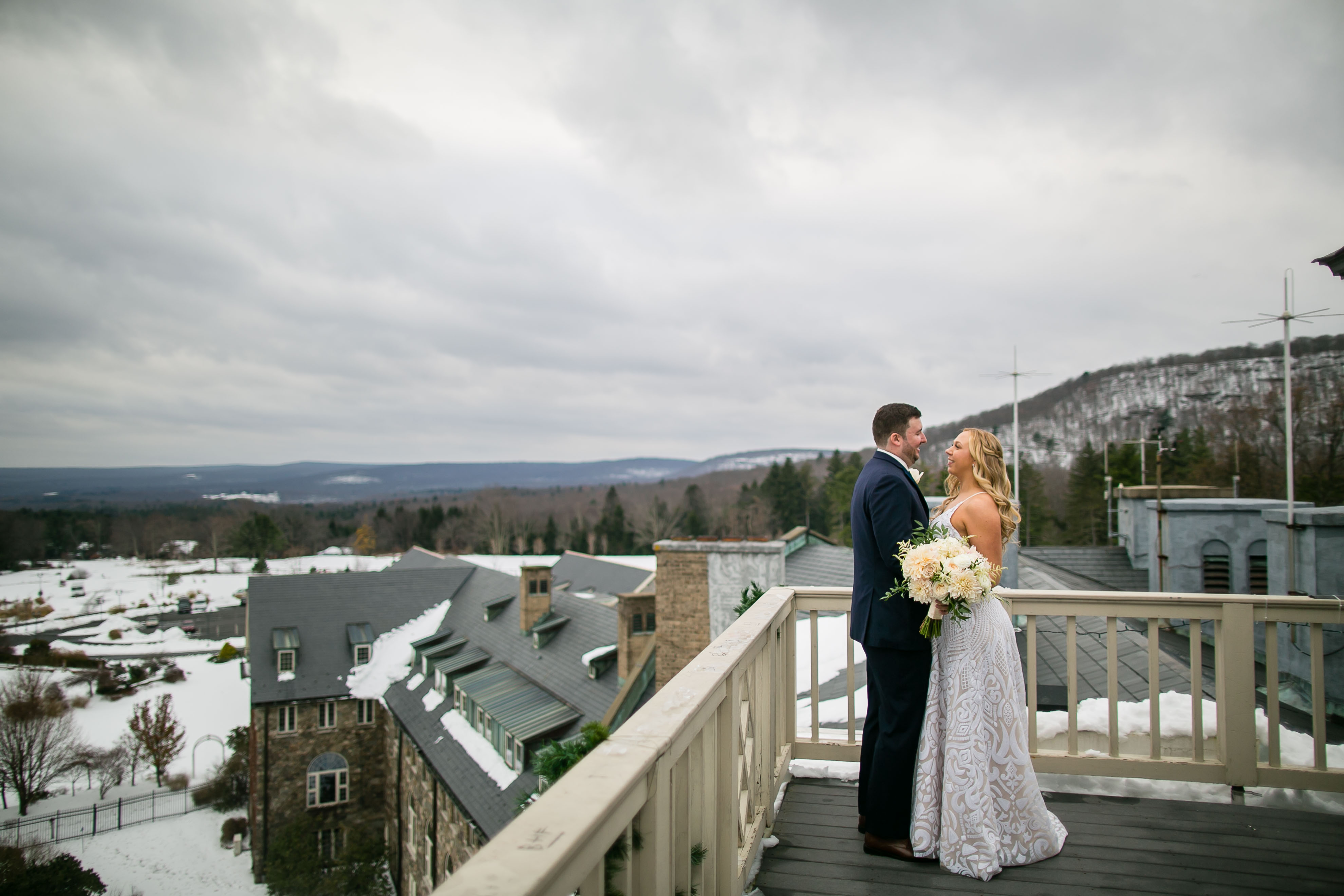 bride and groom and mountain