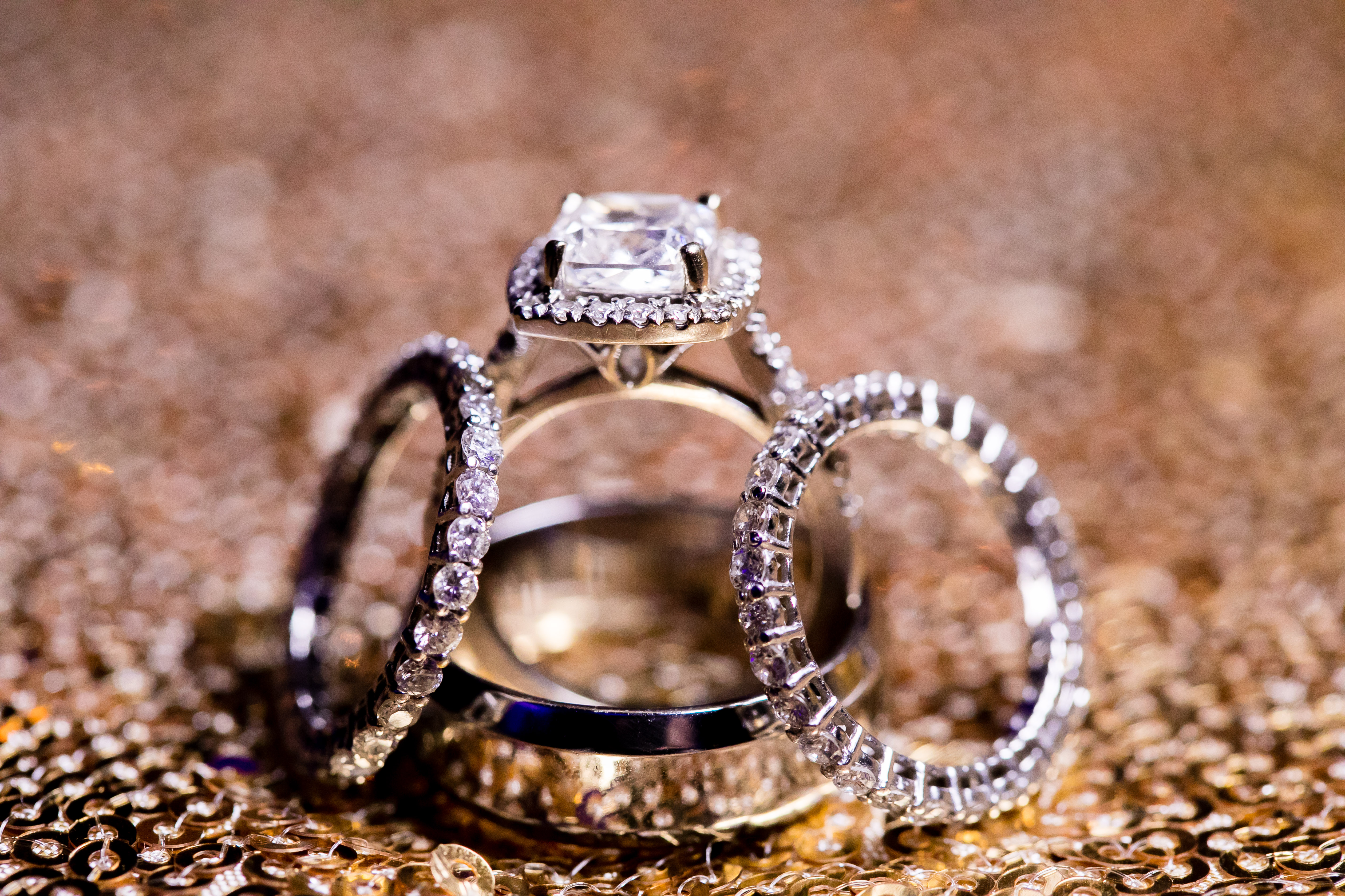 engagement ring and wedding bands