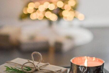 christmas present and candle