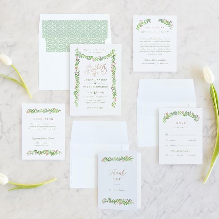 green and white invite suite