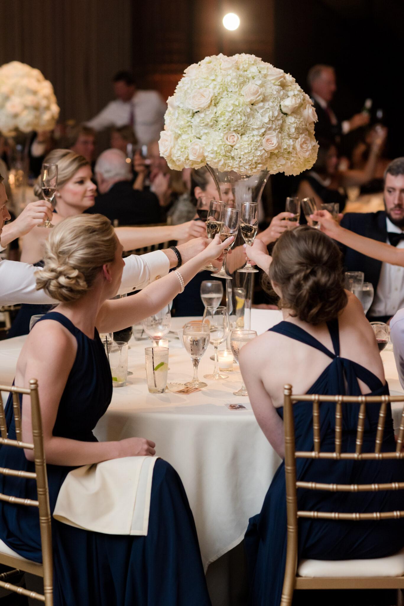 bridesmaids toasting at wedding reception