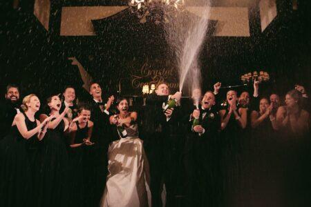 champagne splash at wedding