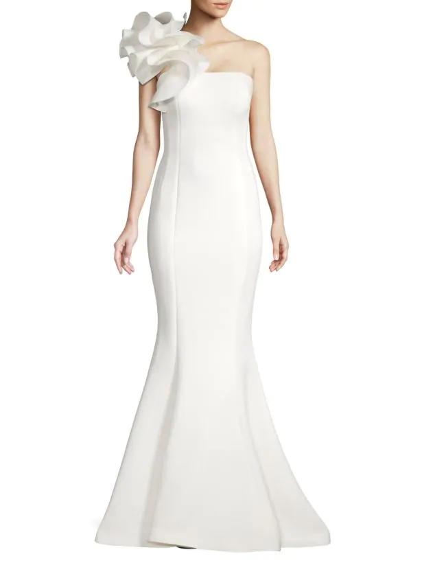 one shoulder white jovani wedding gown