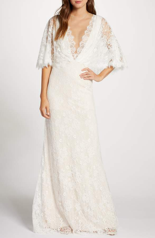 long sleeve lace boho bridal gown