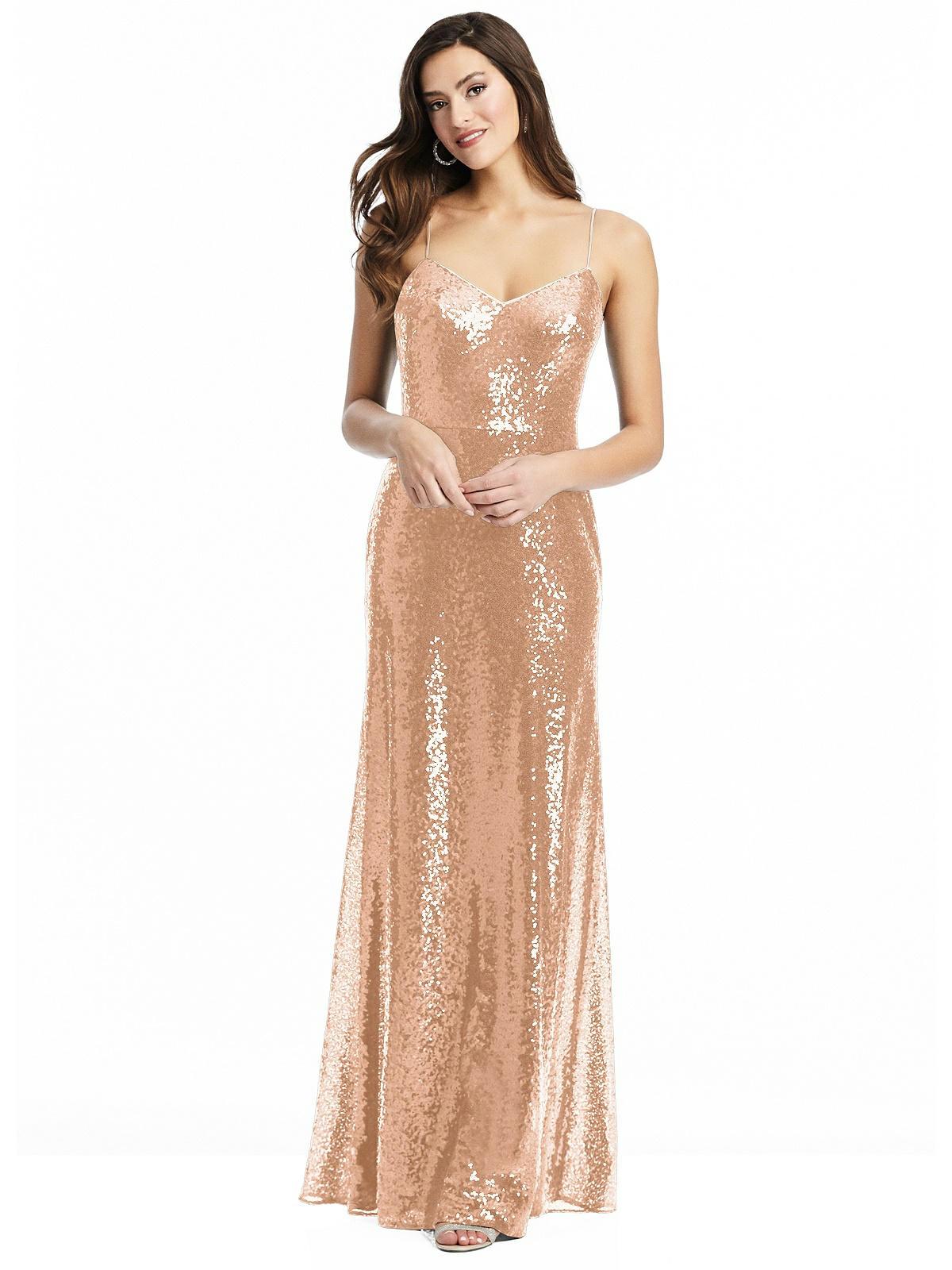 long gold sparkly bridesmaid dress