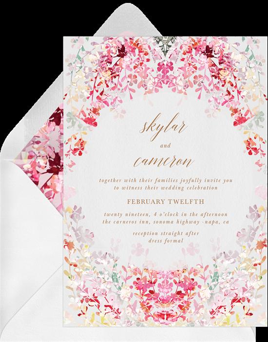 pink flower wedding invite suite