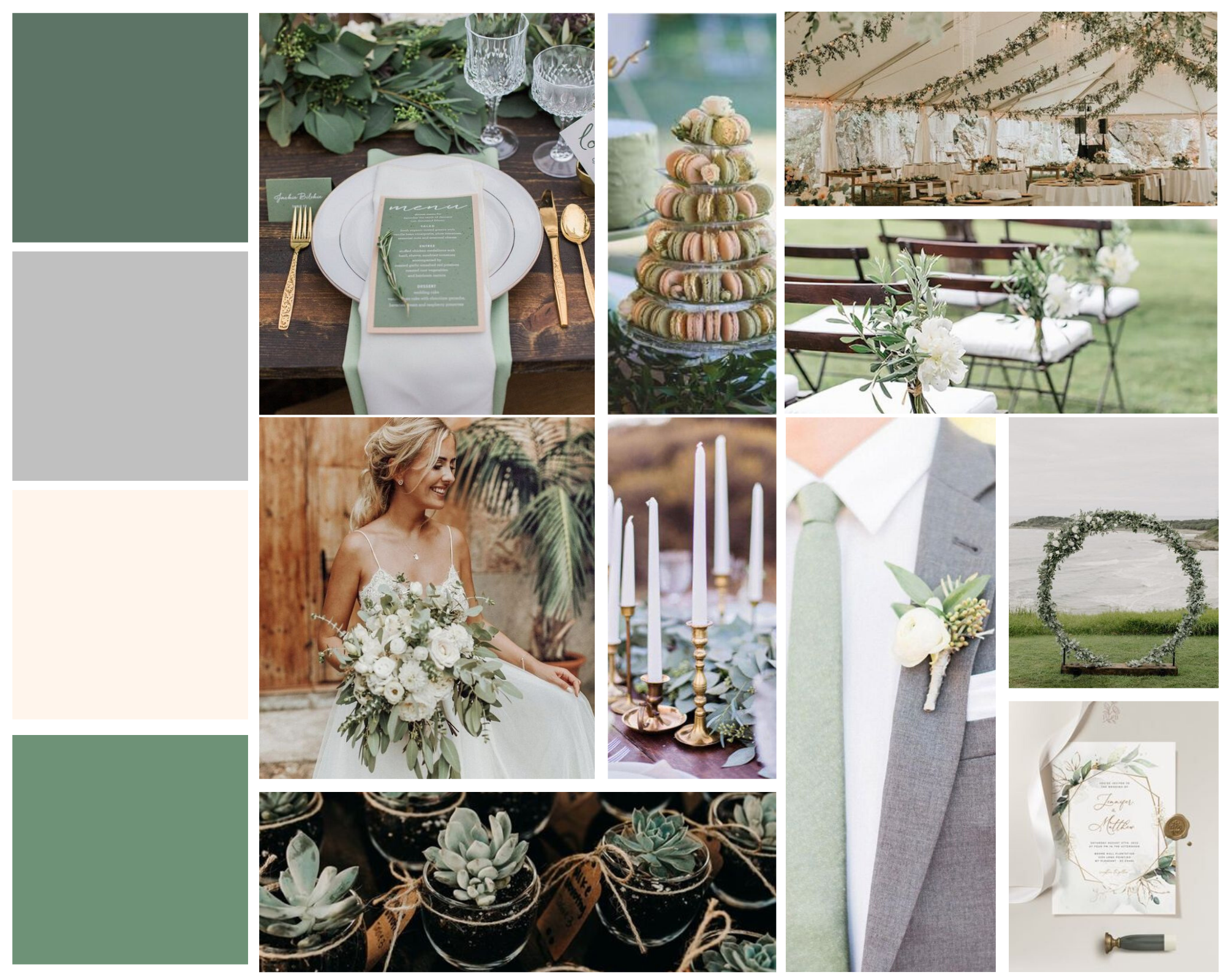 mood board for sage wedding colors