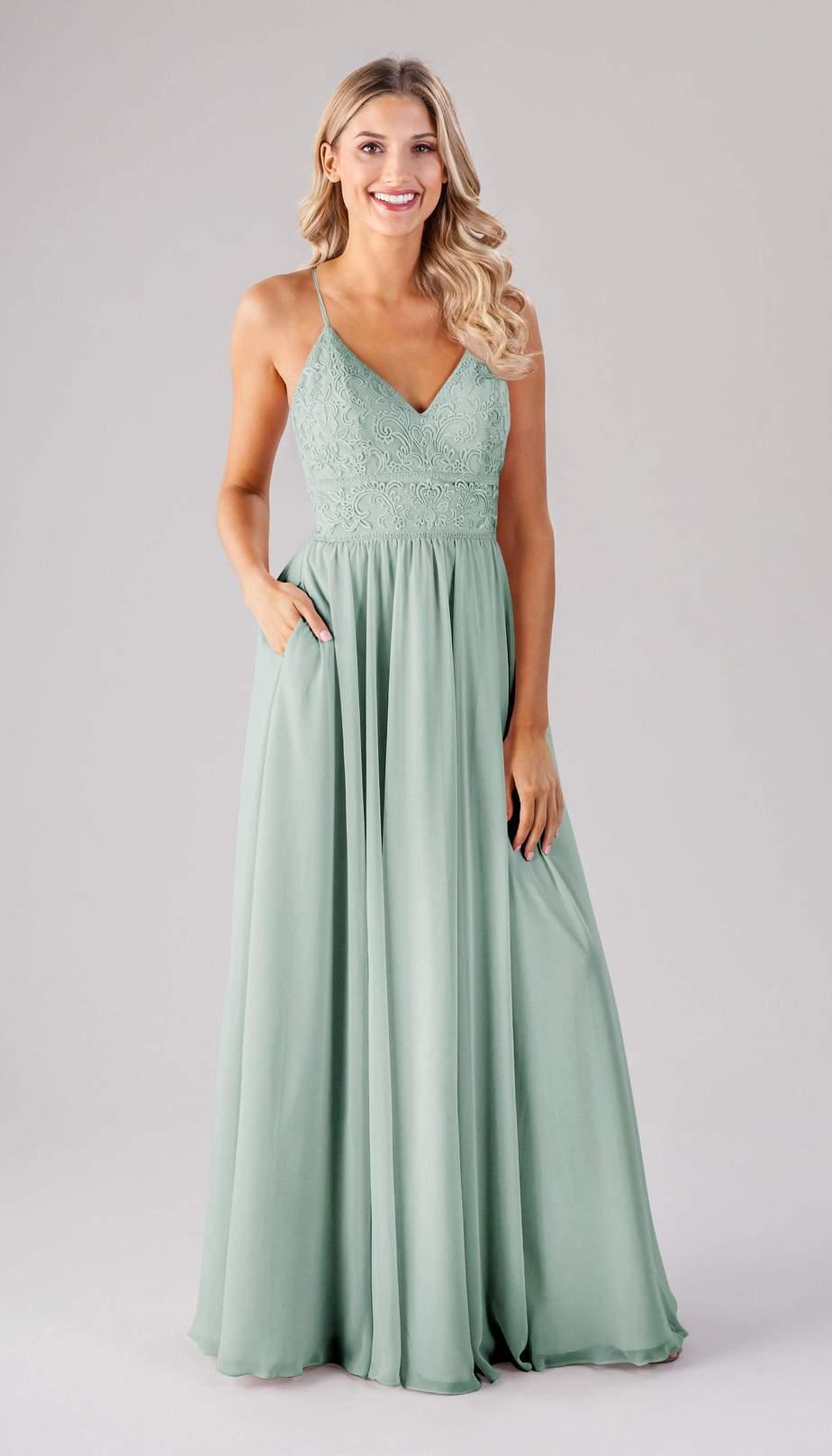 sea glass green long bridesmaid dress