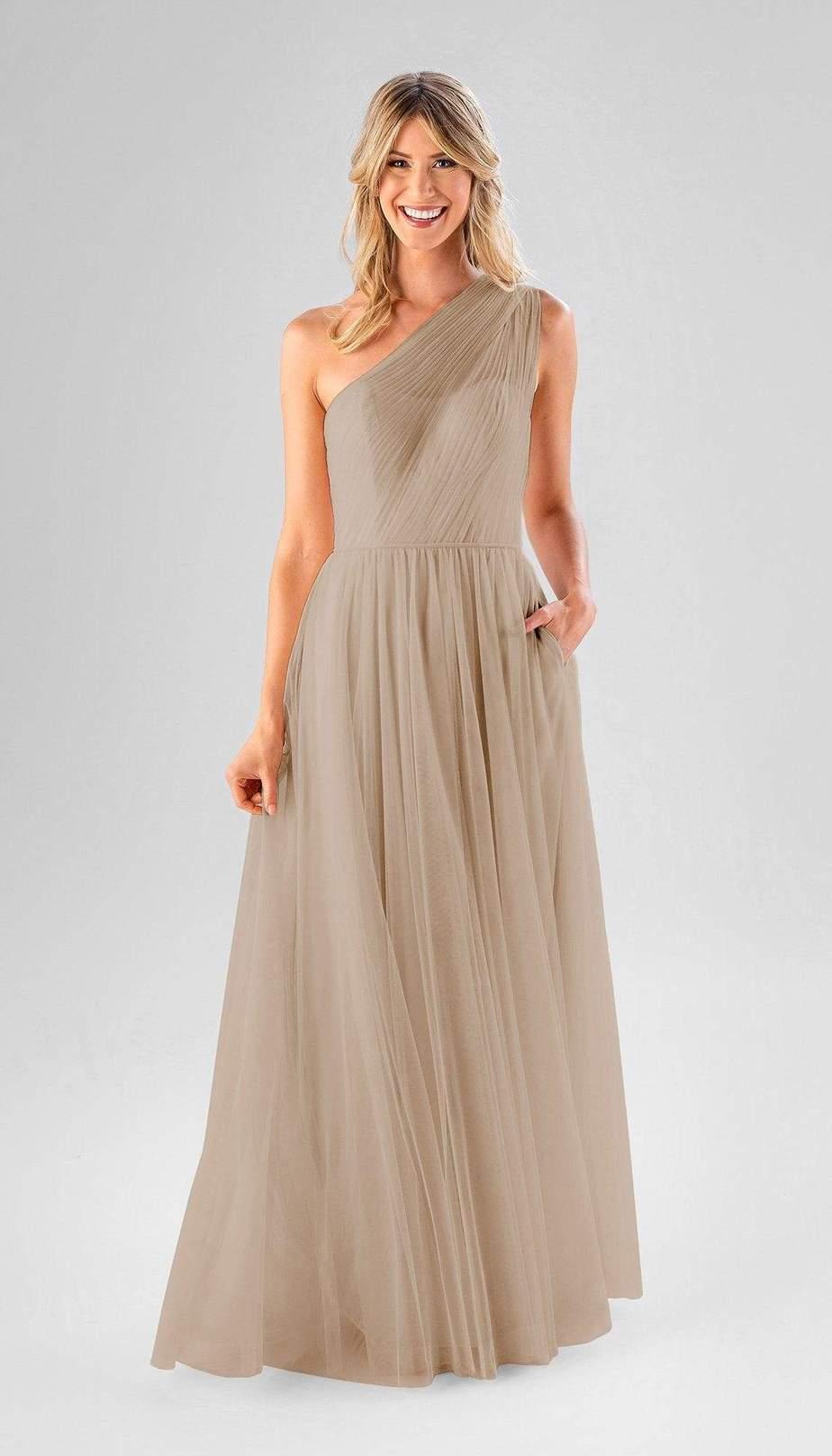 long one shoulder beige bridesmaid dress
