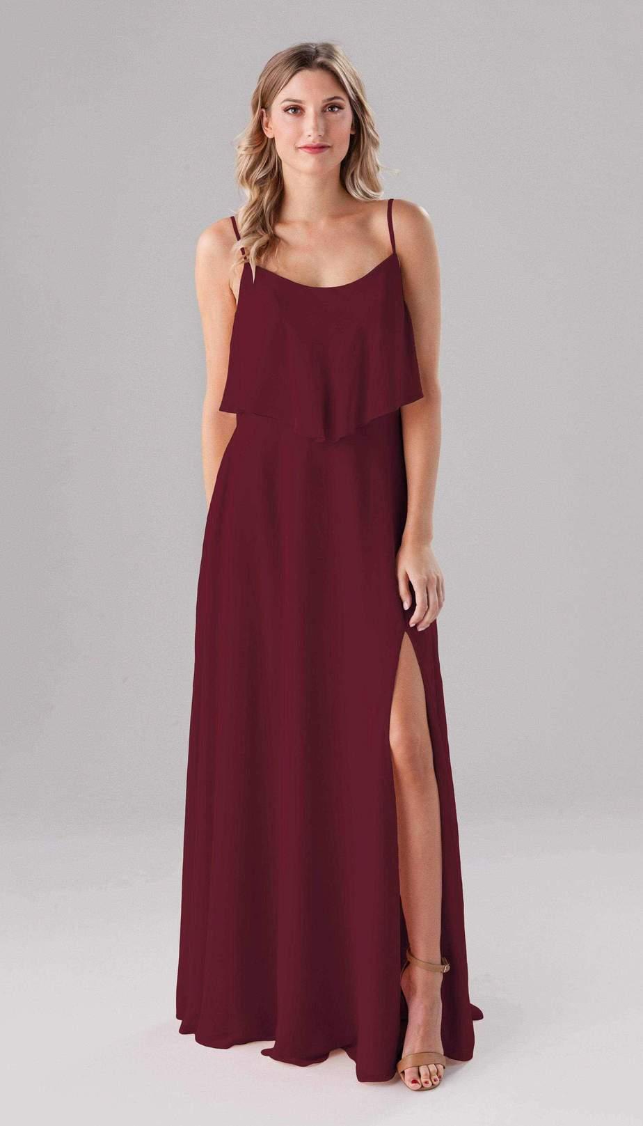 long merlot color bridesmaid dress