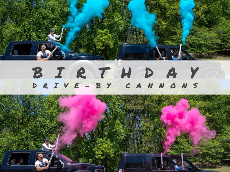 pink and blue party cannons
