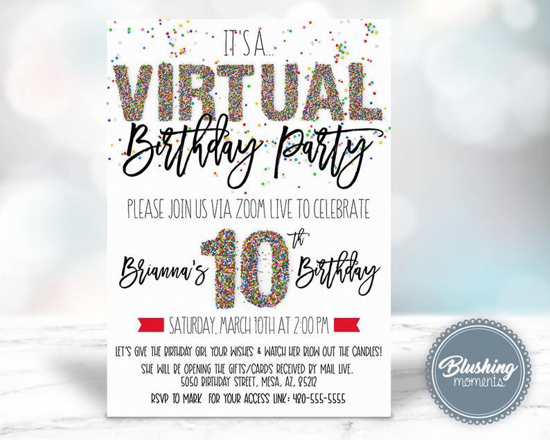 virtual birthday party invites