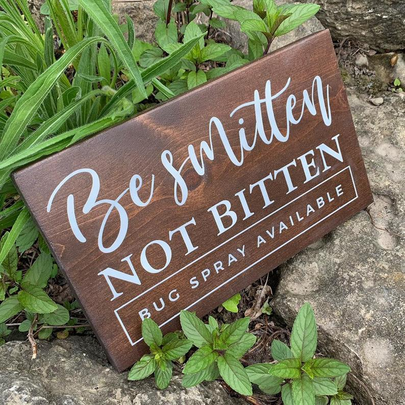 bug spray wedding day signage