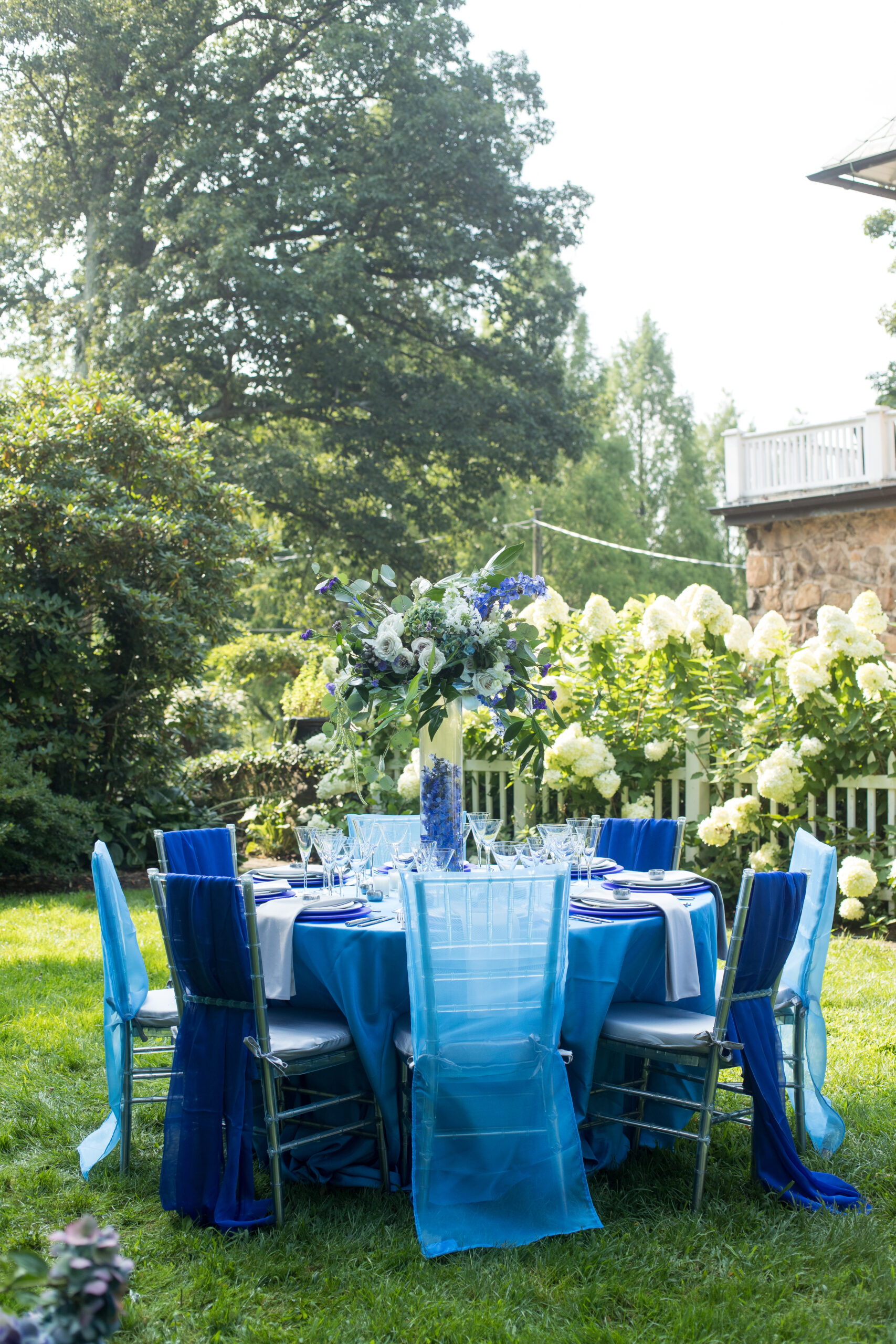 all blue table set outside