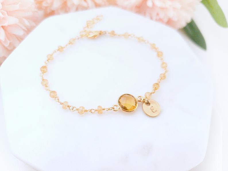 citrine gold bracelet