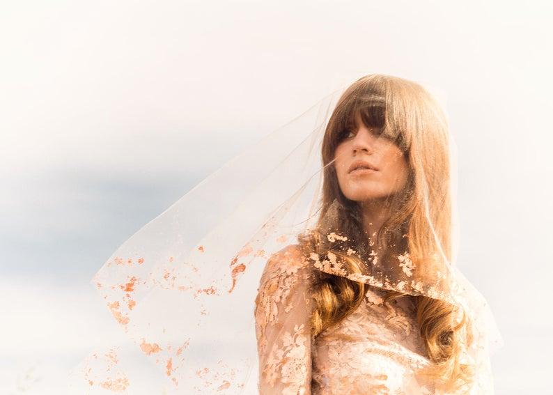 glitter wedding veil