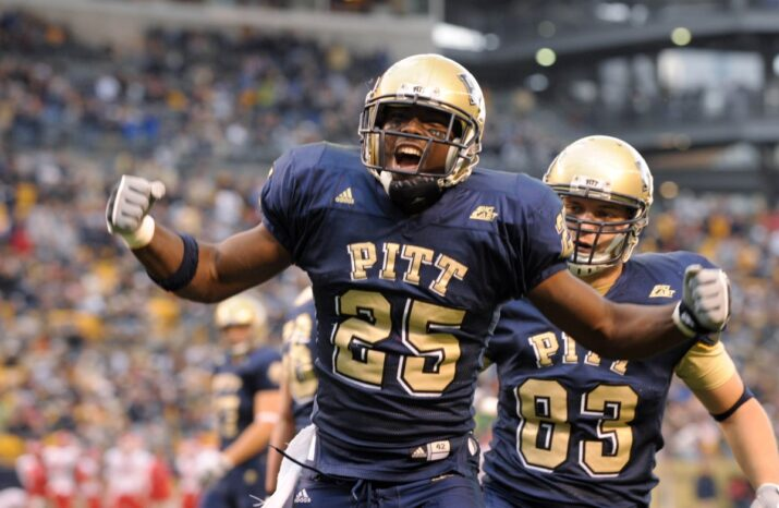 Oct 25, 2008; Pittsburgh, PA, USA; Pittsburgh Panthers running back LeSean McCoy (25) celebrates after scoring a touchdown against the Rutgers Scarlet Knights during the first half of a football game at Heinz Field. Rutgers won 54-34. Mandatory Credit: Don Wright-US PRESSWIRE ORIG FILE ID: 20081025_jla_aw1_135.jpg
