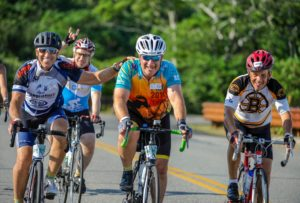 Don Goldberg riding in a bike-a-thon for the Pan Mass Challenge 2018.