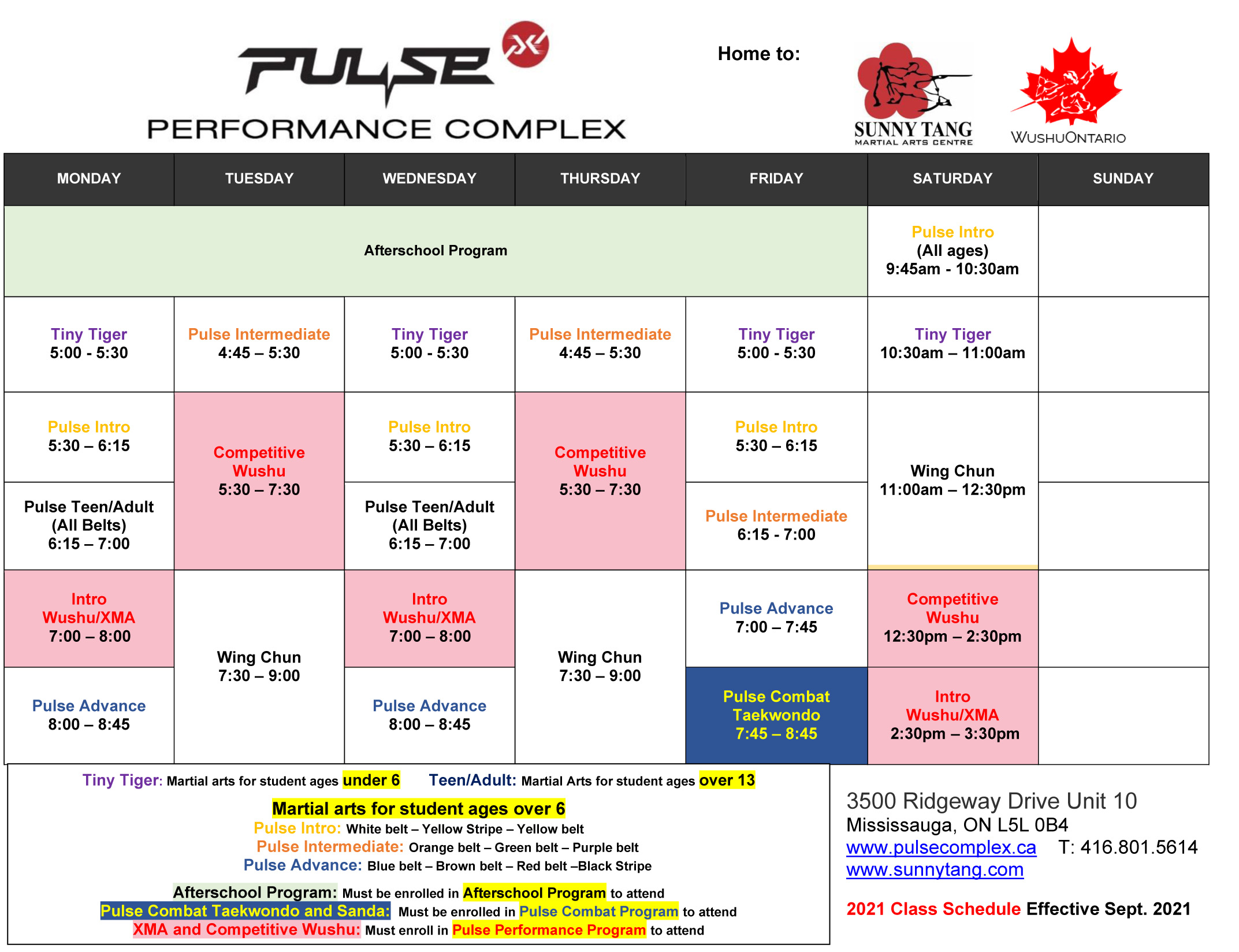 New Mississuaga Schedule Starting Monday, September 20th