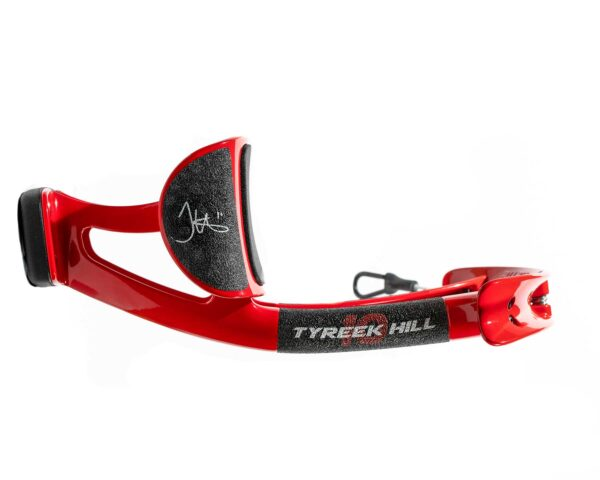 Side view of Tykeek Hill edition of PureTorque device. It's red and black, with his autograph visible.