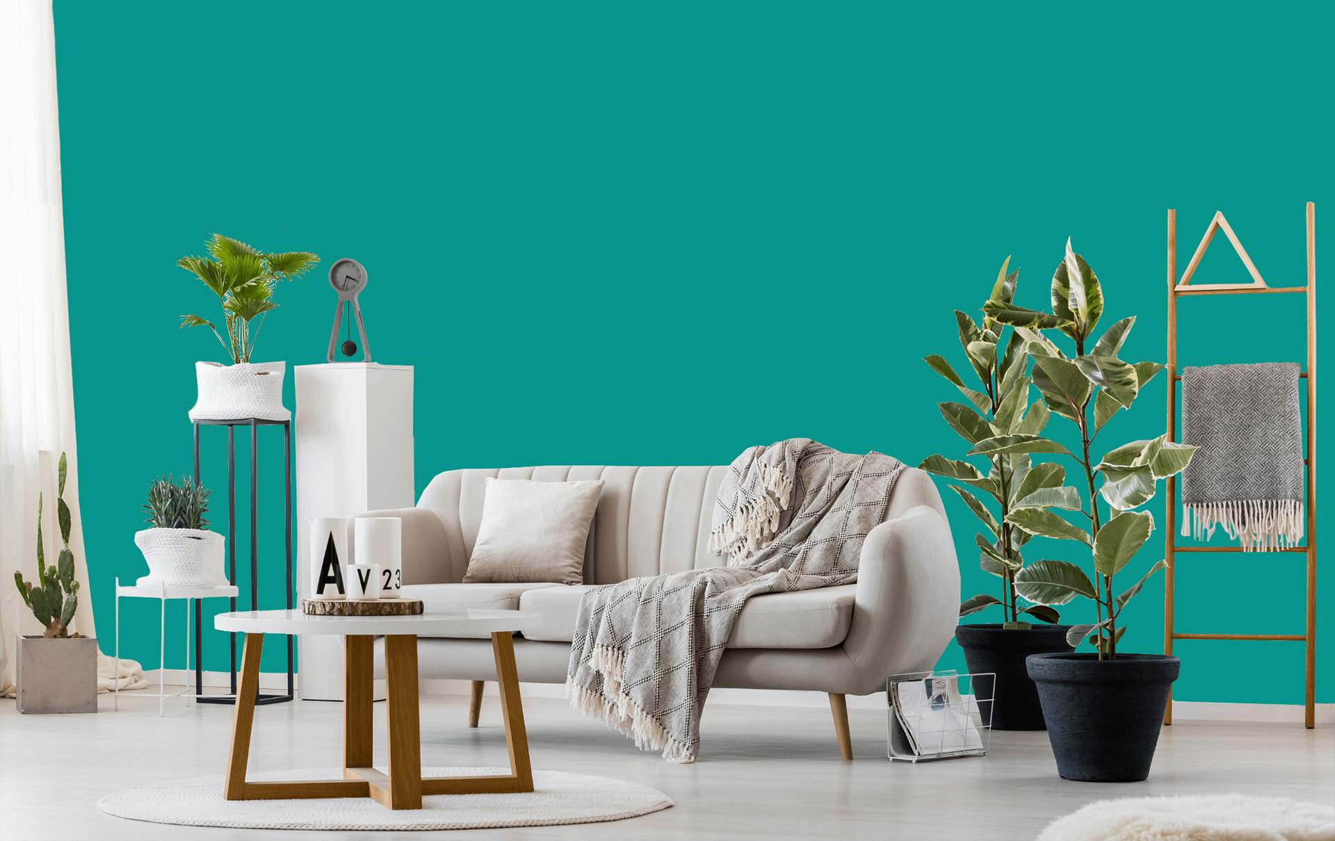 room with teal wall