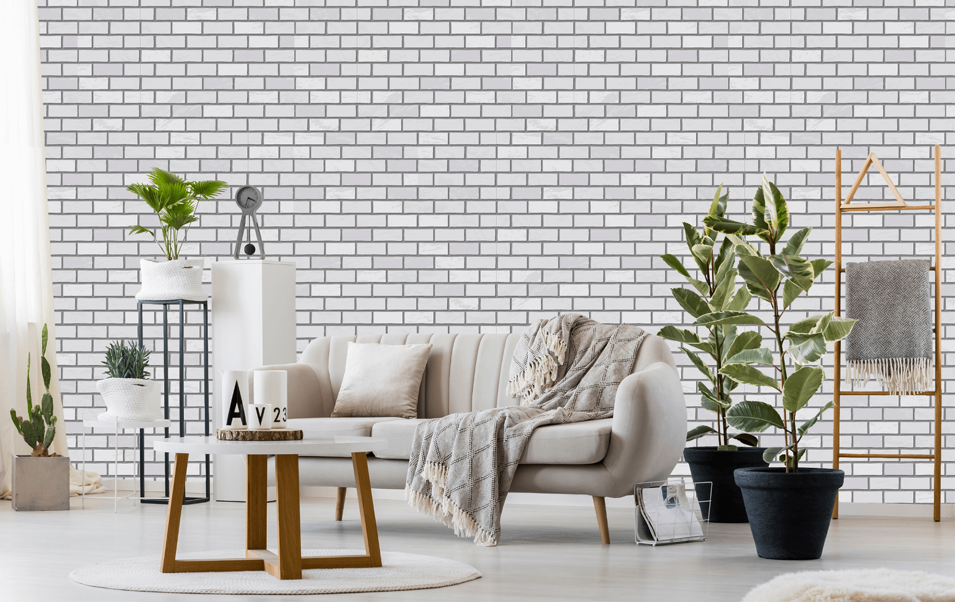 room with white brick wall