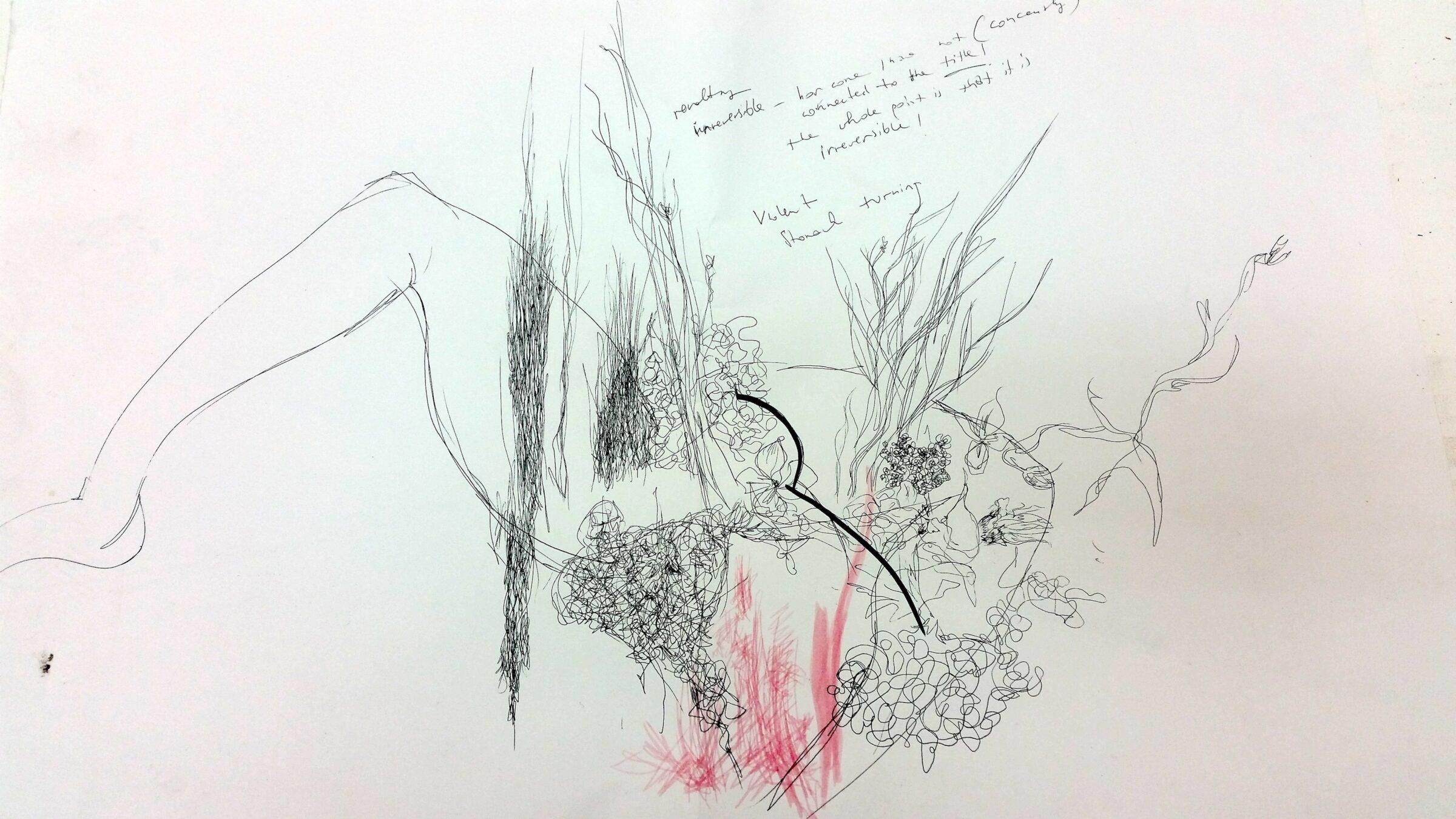Relating III, 59 x 84cm, felt pen, marker, biro on paper, 2014.