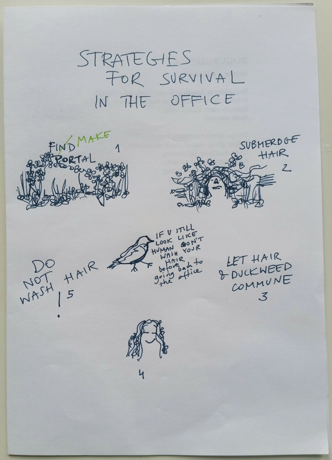 Sanity. Work In Progress. Strategy For Survival In The Office, ink pen drawing on half A4 copy paper.jpg