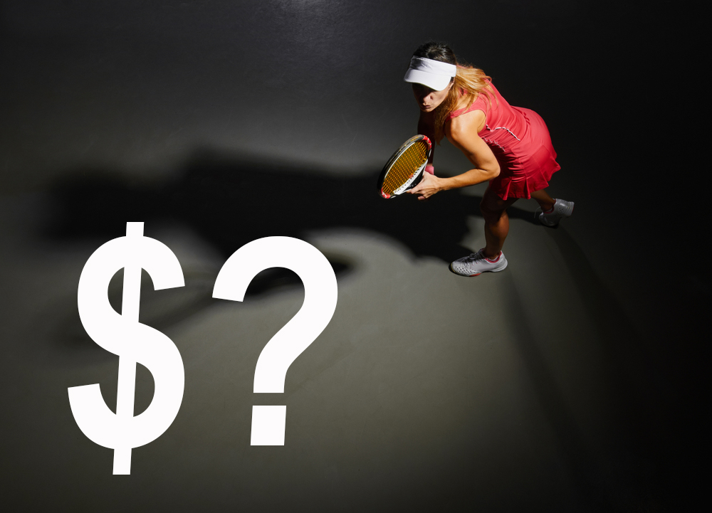 Professional woman tennis player without sponsor