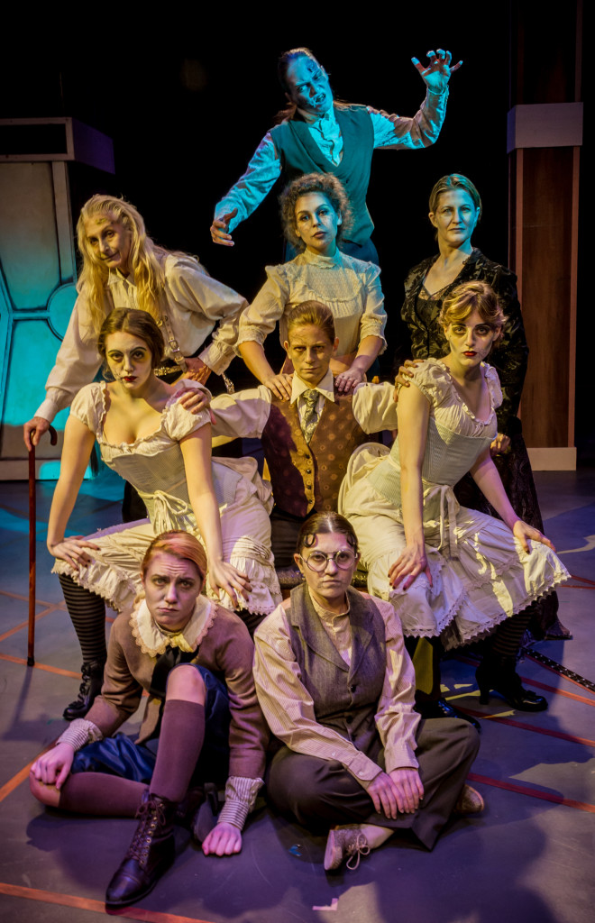The cast of All Girl Frankenstein, with Victor (Candace Clift) in the center of things. (Photograph by Michael A. Eaddy)
