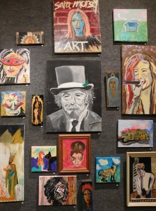 Paintings by Sara Morsey during a recent exhibition at the Hippodrome Gallery.