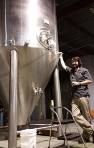 John Denny and his brewerys new 60-barrel fermenter