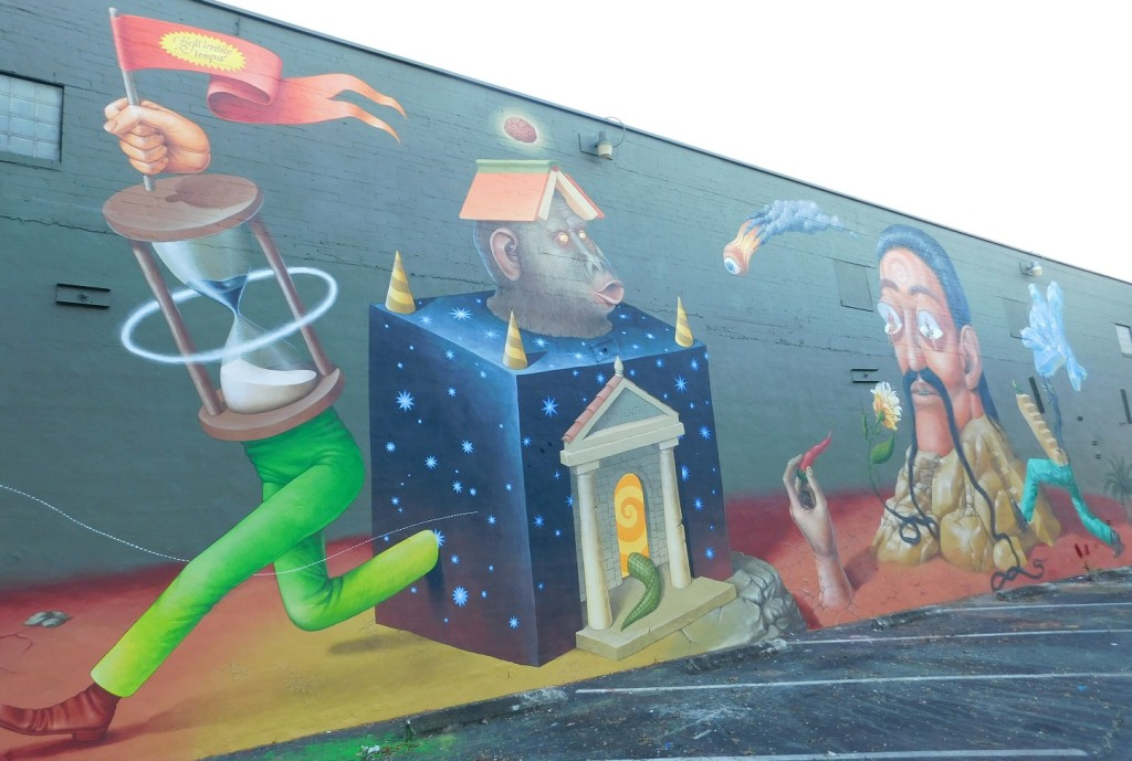 The completed mural on the Market Street Pub wall by Interesni Kazki. Photo by Gainesville Downtown