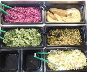 Sababas salads, hummus and tabouli.
