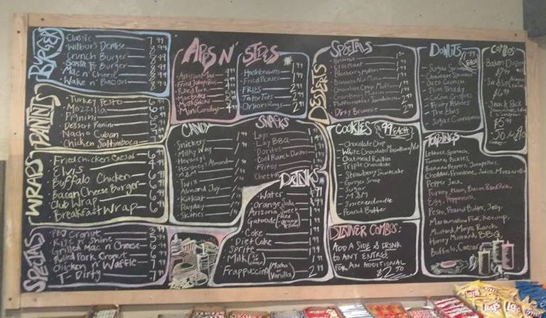 The extensive menu board at Gator Baked.
