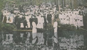 A baptism in the river.