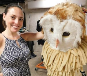 Stacie and an owl costume