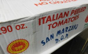 Tomatoes imported from Italy.