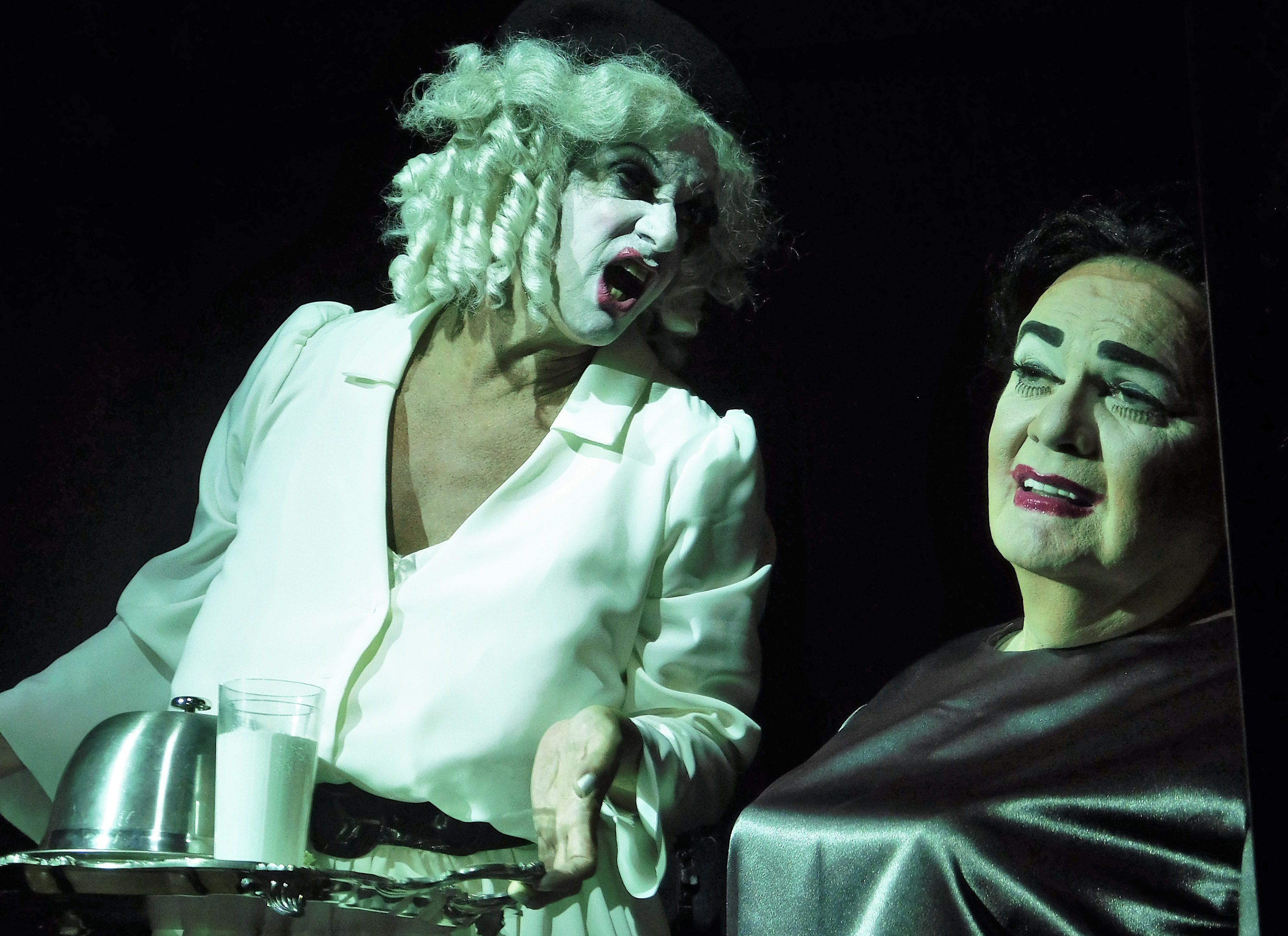 Baby Jane Hudosn Bryan Mercer) serves up trouble to sister Blanche Mark Chambers) in Whatevre Happened to Baby Jane?