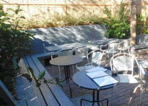 The outdoor patio at Alpin makes an attractive option for socializing.